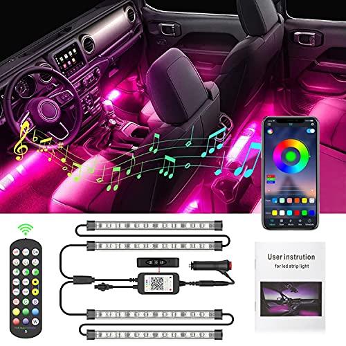 LED Coche Interior, AUXIRACER Luces Tiras LED Coche, Luces Interior Coche, Coche RGB Luz Barras Kits de luminación, con APP| Control Remoto| Música Multicolor | Impermeable |12V Cargador de Auto