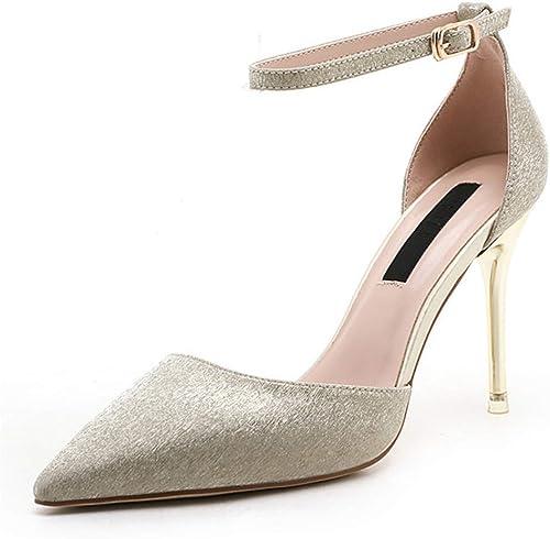 HLG Pumps der Frauen pu fein mit spitzen baotou Sandalen Schuhe Flutmodelle Paillettenschuhe eine Schnalle