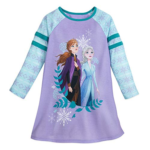 Disney Anna and Elsa Long Sleeve Nightshirt for Girls – Frozen II- Size 4 Multi