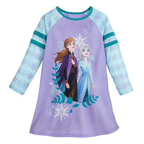 Disney Anna and Elsa Long Sleeve Nightshirt for Girls – Frozen II- Size 3 Multi