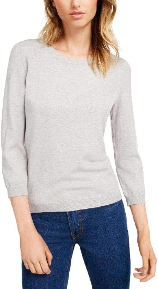 Maison Jules Womens Crewneck Pullover Sweater Gray M