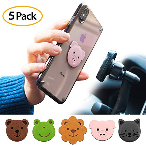 Ringke Magnetic Character Metal Plate Kit - Animal Edition (5 Pack, 1 Each) with 3M Adhesive Pad Compatible with Magnet Phone Car Mount Holder for Smartphone, iPad, Tablet, and Other Devices