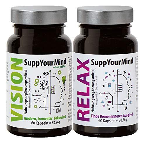 Vorteilspackung SuppYourMind VISION & RELAX | pflanzlicher Gedächtnis-Booster für Aufmerksamkeit & Konzentrationsfähigkeit | pflanzlicher Optimierer zur Beruhigung, Anti-Stress & Schlaf