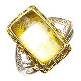 StarGems Natural Abertura chapada en oro ámbar de 14 quilates Anillo de plata de ley 925 único hecho a mano 20 7/8 D1368