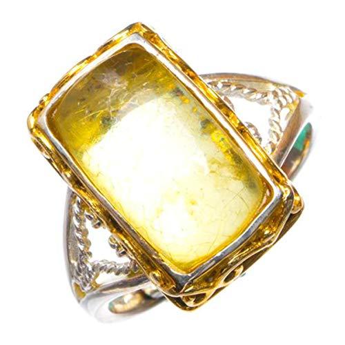 StarGems Natural Abertura chapada en oro ámbar de 14 quilates Anillo de plata...