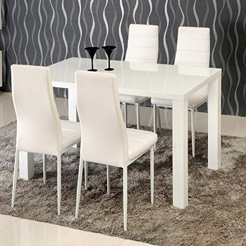 TUKAILAI Modern White High Gloss Dining Table Breakfast Kitchen Dining Room Furniture 120x80x76cm Suitable for 4-6 People