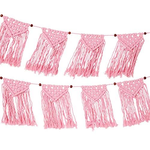 Guirnalda tejida de macramé rosa -1,3 m  Banderines de tela de algodón 100% para dormitorio de niñas, decoración boho para el hogar, sala de estar, decoraciones para fiestas de cumpleaños