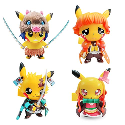 Qwead 4Pcs Pikachu Demon Slayer Dress Up Action Figure Kamado Tanjiro Kamado Nezuko Demon Slaying Corps Collection Figure Model Toy Dolls Gift