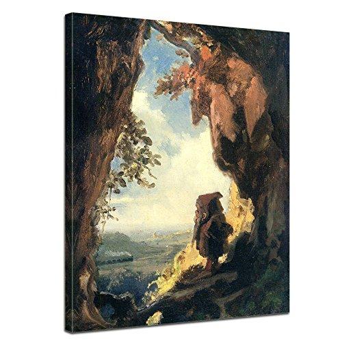 Wandbild Carl Spitzweg Gnom, Eisenbahn betrachtend - 30x40cm hochkant - Alte Meister Berühmte Gemälde Leinwandbild Kunstdruck Bild auf Leinwand