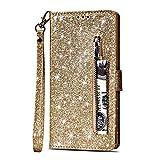 Artfeel Reißverschluss Brieftasche Hülle für Huawei Mate 10 Lite, Bling Glitzer Leder Handyhülle mit Kartenhalter,Flip Magnetverschluss Stand Schutzhülle mit Tasche & Handschlaufe-Gold