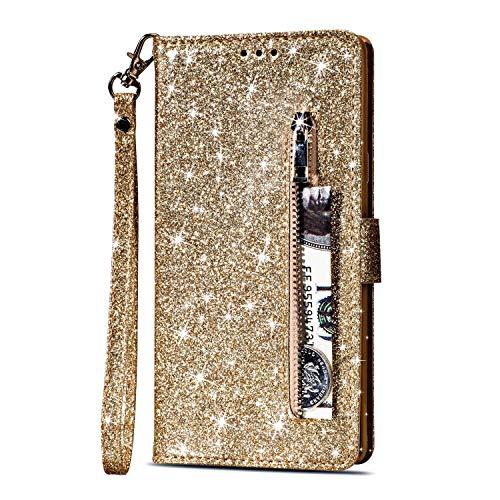 Artfeel Reißverschluss Brieftasche Hülle für Samsung Galaxy S9 Plus, Bling Glitzer Leder Handyhülle mit Kartenhalter,Flip Magnetverschluss Stand Schutzhülle mit Tasche und Handschlaufe-Gold