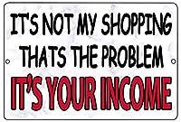 問題は収入です メタルポスタレトロなポスタ安全標識壁パネル ティンサイン注意看板壁掛けプレート警告サイン絵図ショップ食料品ショッピングモールパーキングバークラブカフェレストラントイレ公共の場ギフト