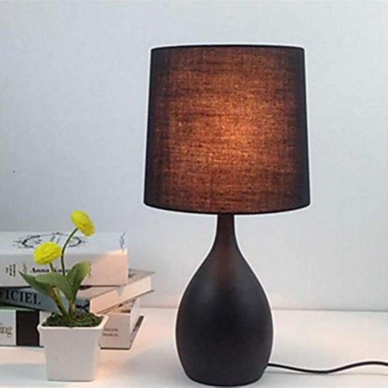 OOFAY LIGHT Einfache Moderne Tischlampe, Eisen Nachttischlampe Schlafzimmerlampe warme dekorative Lampe europische Lampe Knopfschalter E14  1 kreativ, einfach (Farbe  schwarz, Gre  HIGH40cm)
