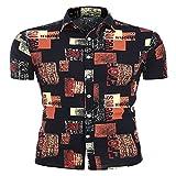 LSSM Camisa Estampada Casual De Manga Corta para Hombre De Verano Slim Fit Casual Short Sleeves Shirts Camisa De Cambray con Manga Larga Y Corte Entallado Vintage Embroidery C904 4XL