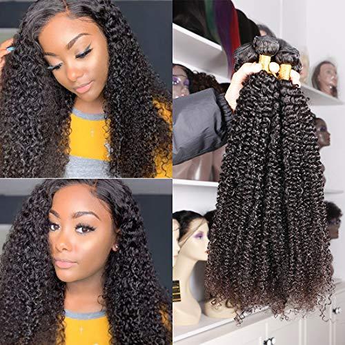 Eiazalin Brazilian Afro Kinky Curly Human Hair 4 Bundles 18'16'14'12' 100% Unprocessed Hair Weave Weft Big Hair for Black Women Natural Color