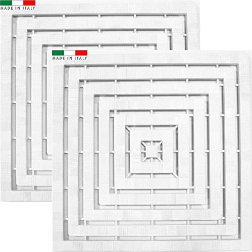 Cenni, 78492- Juego 2alfombrillas plataformas para ducha 60x 60cm, de plástico con goma antideslizante, blanco. Fabricado en Italia