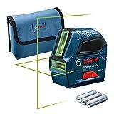 Bosch Professional Nivel láser GLL 2-10 G (láser verde, alcance: hasta 10m, 3 pilas AA, estuche) – Edición Amazon