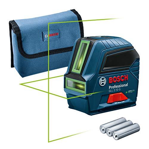 Bosch Professional Measurement Bosch Professional Linienlaser GLL 2-10 G (grüner Laser, Arbeitsbereich: bis 10 m, 3x AA-Batterie, Tasche) – Amazon Edition