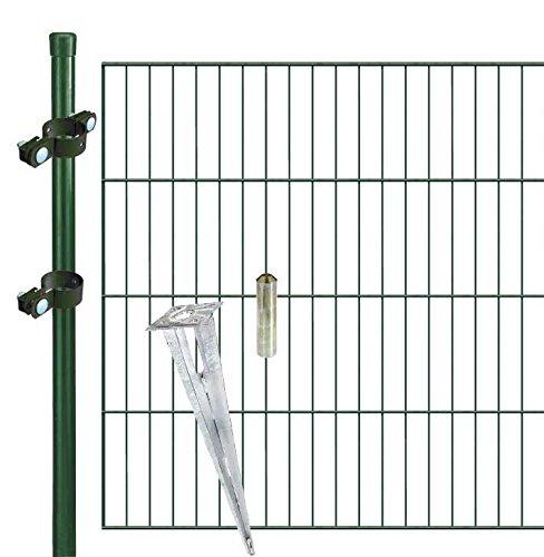 Zaunfreunde.de 20 m Einstabmattenzaun Set mit Einschlagbodenhülsen in grün, Höhe 100 cm