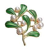 MLXG - Broche de perla retro con forma de hoja de árbol, esmaltado de alta calidad, con brillantes de bufandas de cala, para mujeres y mujeres