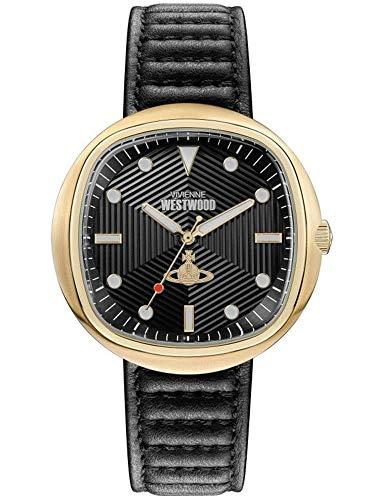 Vivienne Westwood VV177BBBK - Reloj de cuarzo para hombre (43,00 mm, esfera analógica negra y piel negra