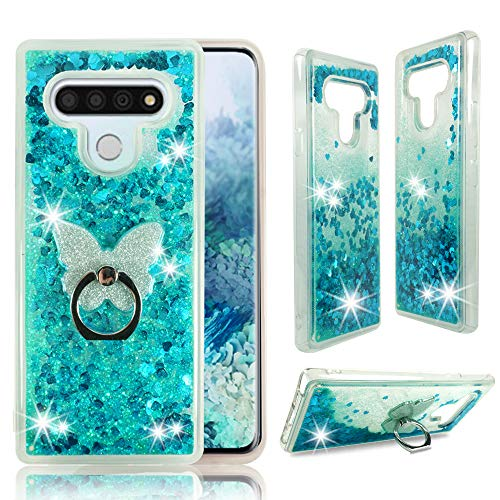ZASE Design Phone Clear Case for LG STYLO 6, LG K71 Liquid Glitter Sparkle Bling Cute Girls Woman Protective Soft Cover Shockproof Waterfall Floating Quicksand w/Phone Ring Holder (Teal Blue)