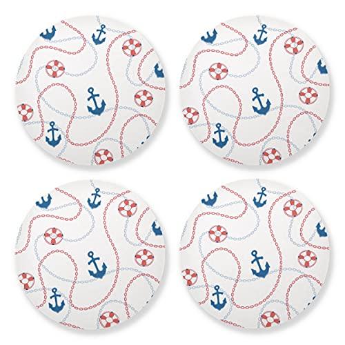 Posavasos para bebidas absorbentes – Cadenas de anclajes marinos de madera natural con respaldo de corcho (juego de 4 piezas) de 10 cm para adornos de Navidad