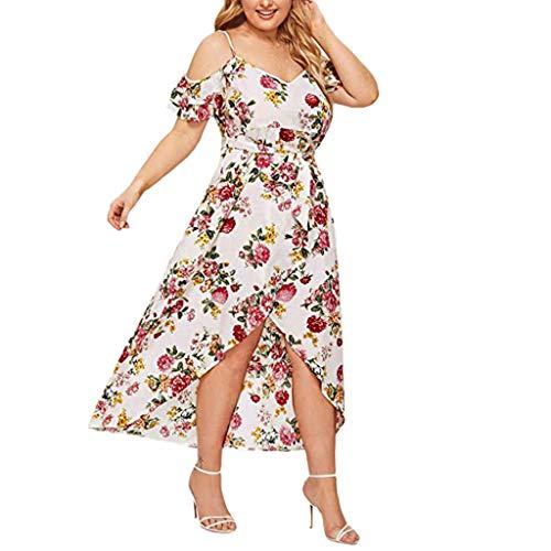 Xmiral Kleid Damen Blumendruck Schulterfrei Schulterfrei Hohe Taille Hohe Taille Saum Übergröße Sommerkleid Kurzarm Chiffon Maxikleid mit Gürtel(Weiß,XXL)