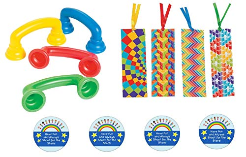 Shooting Stars 4 Read to Your Self Phones and 4 Optical Illusions Bookmarks - Bundle, Accelerate Reading Fluency, Whisper Auditory Feedback, Speech Therapy, Hear Myself Phone Bonus 4 Stickers