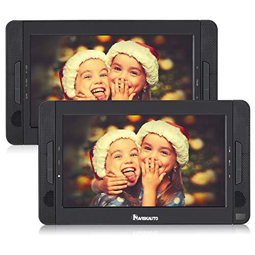 NAVISKAUTO DVD Coche con 2 Pantallas, 10 Pulgadas Reproductor de DVD Portátil soporta Tarjeta SD/USB con 4-5 Horas Duración para Reposacabezas de Coche