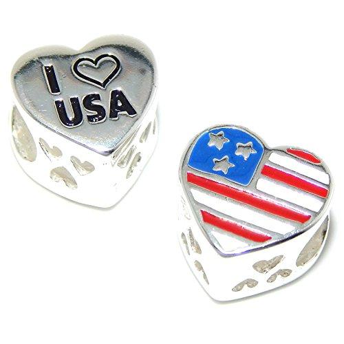 ICYROSE Solid 925 Sterling Silver American Flag/'I Heart USA Heart Charm Bead for European Snake Chain Bracelets
