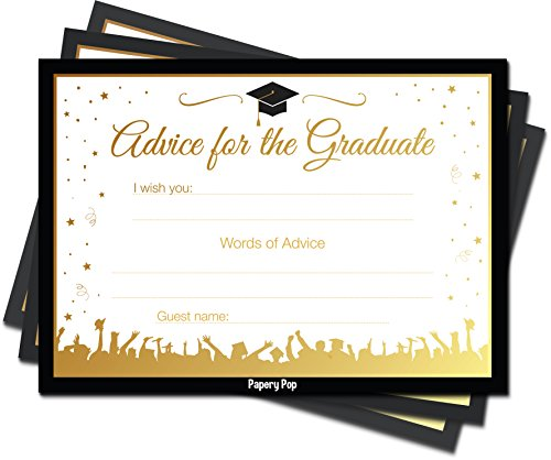 Papery Pop 2020 Graduation Advice Cards for The Graduate (30 Count) - High School or College Graduation Party Games Activities Invitations Decorations Supplies