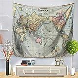 Enhome Mapa del Mundo Tapiz Pared de Creativo Tapicería Tapices Impreso, Decoración Cubierta del Sofa Manteles Cortina Picnic Blanket Playa Accesorio Casero Hippie Yoga (Mapa Antiguo,150 * 130cm)
