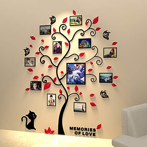 Unitendo 3D Wall Stickers Photo Frames FamilyTree Wall Decal Easy to Install &Apply DIY Photo Gallery Frame Decor Sticker Home Art Decor, Red Leaves Tree with cat, L.