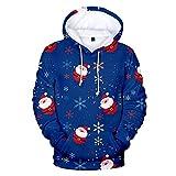 TEFIIR Weihnachten Damen 3D Digitaldruck Kapuzenpullover Mode Sweatshirt mit Lanyard Tasche Outwear Lose Beiläufige Pullover Herbst/Winter Trend Pullover