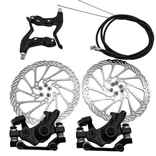 Mountain Bicycle Mechanical Disc Brake Set, Front Rear Caliper 160mm Disc Brake Rotor Brake Levers Cable Kit for Mountain Road Bike, Riding Bicycle Repairing Parts