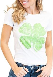 Women St. Patrick's Day T-Shirt, Printed Cotton T-Shirt Short Sleeve Tops Tees