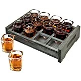 MyGift 12 Shot Glass Party Server with Vintage Gray Wood Tray for Tequila Whiskey Vodka Spirit Liquor