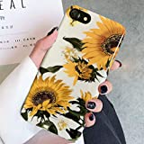 Topwin iPhone 7/8/iPhone SE 2020 Floral Case, Flexible Soft TPU with Florwer and Leaf Pattern Slim Fit Lightweight Cute Case for Girls Women Compatible Apple 4.7'' iPhone 7/8,iPhone SE (Sunflower)
