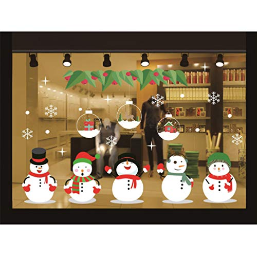 Beurio Snowman Window Sticker Christmas Snowflake Gel Clings Decal Glass Wall Removable Stickers Films Decorations