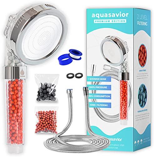 AQUASAVIOR Alcachofa ducha alta presión con manguera 2m, teléfono cable ducha con filtro iónico antical, cabezal ducha 35% ahorro agua, mango ducha baño con flexo 3 modos