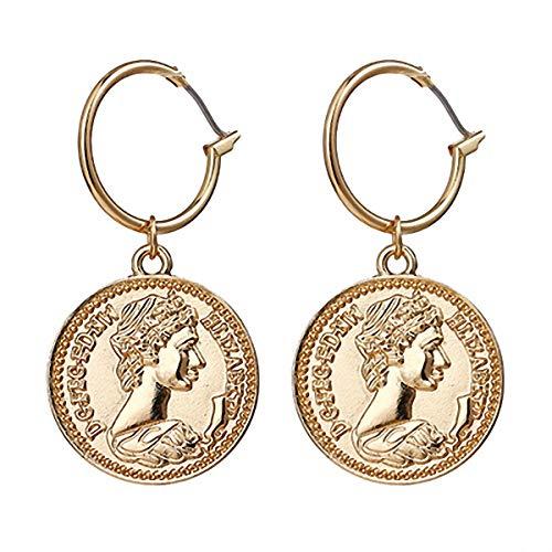 Medusa - Pendientes colgantes de aleación de zinc para mujer, diseño de moneda vertical, color dorado