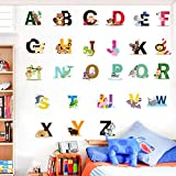 Alphabet Wall Stickers for Children - Easy to Apply Playroom Décor Animal Children's Wall Stickers. Bright and Colourful Removable Playroom Wall Stickers for Kids Bedrooms or Nursery