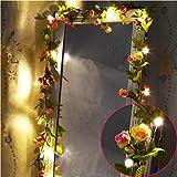 Fielegen 20LED 7.2ft Artificial Flower Rose Vine String Lights, Battery Powered Rose Flower Garland Plant Fairy Light for Valentine's, Wedding Bedroom Party Garden Indoor Decoration Craft Art Decor
