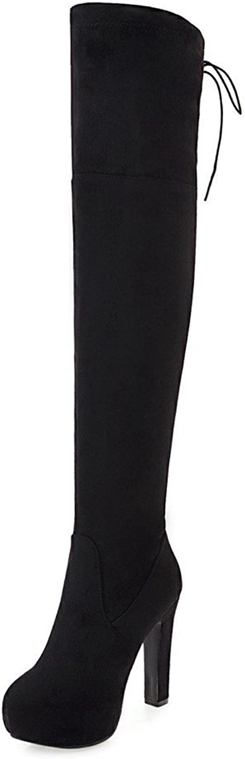 Rongzhi Womens Over The Knee Boots Pumps Thick Heels Platform Zip Suede Thigh High Boots Round Toe