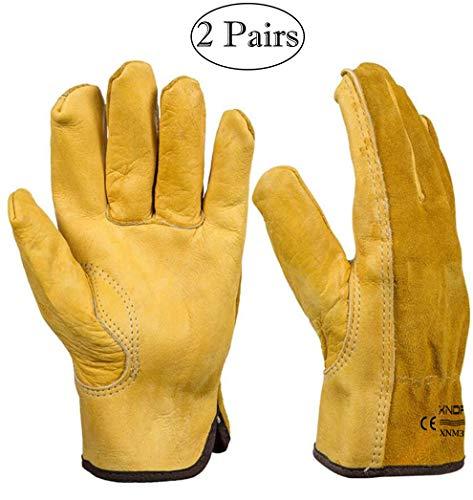 Xndryan Gartenhandschuhe für Herren, 2 Paar, robuste Gartenhandschuhe, dornsichere Leder-Arbeitshandschuhe, atmungsaktiv und bequem, Gartenhandschuhe für Männer und Frauen (XL)