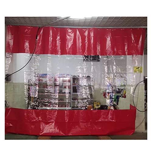 YJFENG Cortina De Lona Impermeable para Lavado De Autos, Panel Lateral De Tienda De Repuesto, Lona Revestida De Rojo con Costuras De PVC, Cortavientos A Prueba De Polvo, para Garaje, Pérgola