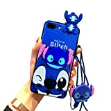 iPhone 8 Plus/7 Plus Stitch Case 5.5' for Kids Girls, Cute 3D Cartoon Fun Animal Character Case Cover for Apple iPhone 7 Plus, iPhone 8 Plus with Holder Lanyard Doll