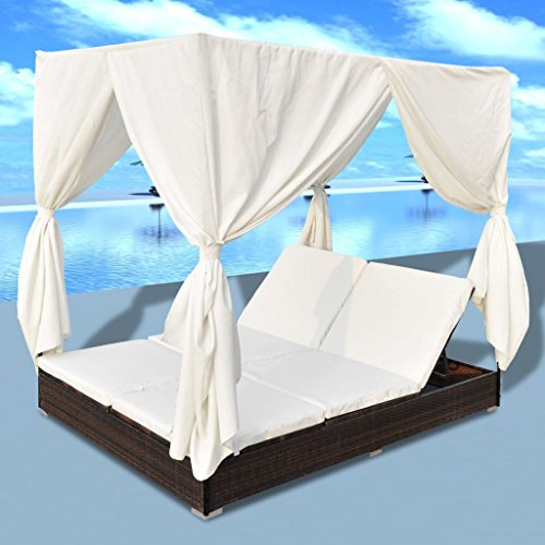 Lepeuxi Outdoor Chaise Lounge Pool Patio Daybed with Curtains 2 Person Sun Bed Poly Rattan Brown