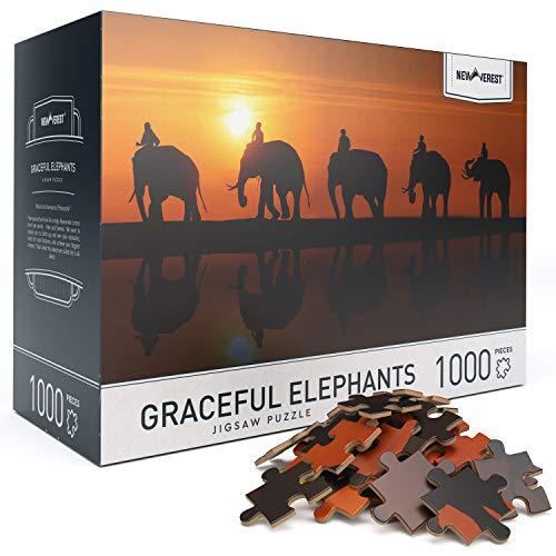"""大人のためのジグソーパズル6歳以上の1000ピース、写真家からのユニークな画像を使用した教育上の難しいパズル-大きな27.5""""x 19.7""""、ギフトパッケージ収納ボックスを含む-優雅な象のパズル"""